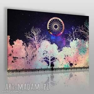 vaku dsgn obraz na płótnie - noc drzewa 120x80 cm 40201 , drzewa, noc, dzień
