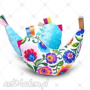kurka przytulanka sensorek maskotka minky - folk na turkusie, dla dziecka