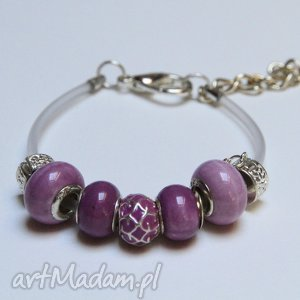 bransoletki fioletowa bransoletka z linki kauczukowej koralikami ze szkła murano