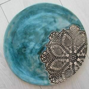 patera koronka z turkusem, talerz, ceramiczny, ceramiczna, turkusowa, koronkowa