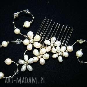 Grzebyk, ozdoba ślubna - perły naturalne, kryształki, ślub, grzebyk,