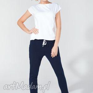 spodnie 7 8 lekko poszerzane t110 kolor granatowy - tessita, spodnie, dzianina