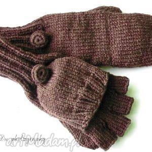 bezpalczatki z klapką 15 - rękawiczki, jednopalczaste, mitenki, klapka, dziergane
