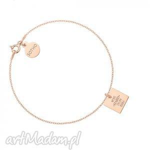 bransoletka z różowego złota work hard dream big, modna, bransoletka, minimalistyczna