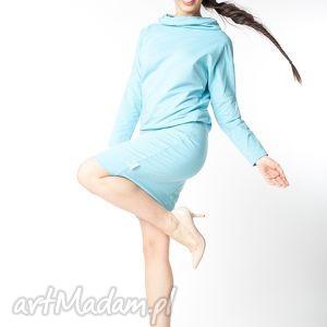 l xl sukienka z kapturem błekitna, bawełna, dzianina, wiosna, eko, luźna, sportowa