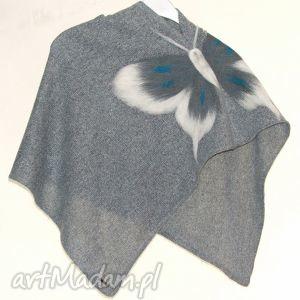 komplet poncz dla mamy i córki, motyle, komplety, filcowanie, wełna, prezent poncho