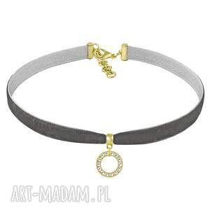 naszyjniki choker - swarovski kamień , aksamit, swarovski, koło, biżuteria