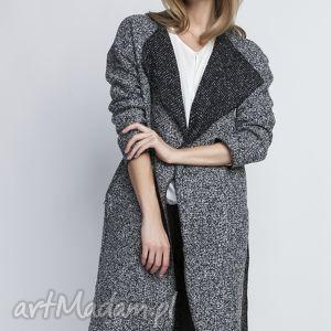 płaszcz, pa102 szary, trencz, szlafrokowy, wełna, pasek, święta