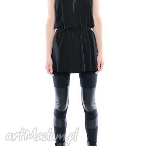 legginsy - futurystyczne panelowe, wygodne, elastyczne, czarne ubrania