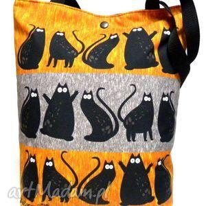 unikalny prezent, na ramię torba napę z kotami, torba, koty, pojemna, pakowna