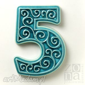 cyfra 5 na dom, turkusowa, cyfra, numer, drzwi, elewacja, dekoracja