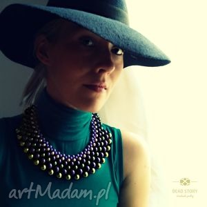 kolia fioletowo zielona, kolia, korale, naszyjnik, wstążka biżuteria