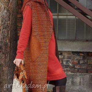 sukienki kamizelka długa, kamizleka, wełniana, kieszenie, kaptur, oversizowa