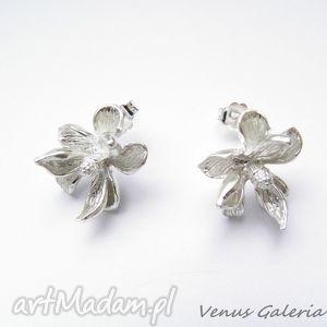Kolczyki srebrne - Magnolie białe sztyft, bizuteria, srebro, kolczyki