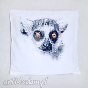 creo lemur bawełniana poszewka z nadrukiem 40 x 40, poszewka, poduszka, lemur, biała