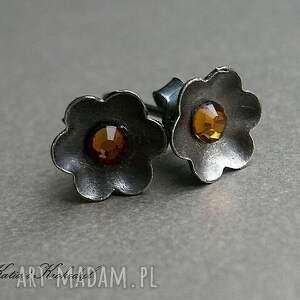 kolczyki kwiatuszki orange, srebro, swarovski, biżuteria