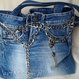 na ramię torba z niebieskiego jeansu, torba, jeans, łańcuch, ekotorba, recykling