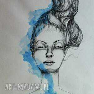 grafika ołówkiem i akwarelą spokój artystki plastyka adriany laube, kobieta