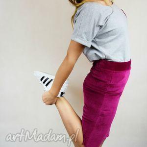 welurowa spódnica ołówkowa mozga - fuksja, velvet, welur, bawełna, ołówkowa, fuksja