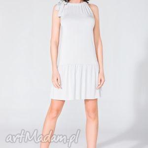 sukienka z falbanką t129 jasnoszary - sukienka, letnia, falbanka, kokarda
