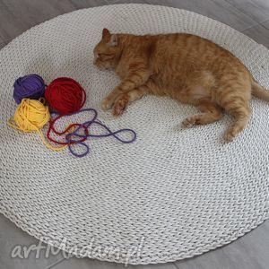 motilove dywan okrągły ze sznurka round braid ecru 150 cm, pleciony, dziergany