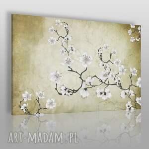 obraz na płótnie - kwiaty orient japonia 120x80 cm 50901 , wiśnia, kwiaty, gałąź