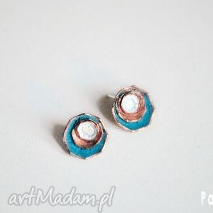 pandon white-blue, miedz, srebro, emalia, handmade, rękodzieło, metaloplastyka