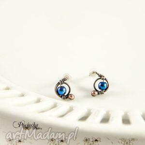 mini hematyt blue - kolczyki sztyfty, kolczyki, wkrętki, hematyt, minimalizm