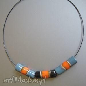 Naszyjnik kolorowe rurki, naszyjnik, biżuteria, handmade, unikatowy, ceramika