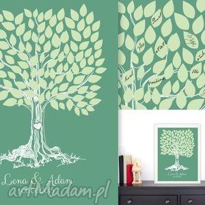 księgi gości romantyczne drzewo wpisów - 40x50 cm plakat na wesele, ślub, rocznicę
