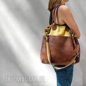 fiella - duża torba musztarda z brązem, shopper, wygodna, praktyczna