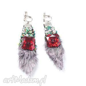 damskie etniczne handmade x1, klipsy, handmade, futro, afrykańskie, korale, prezent