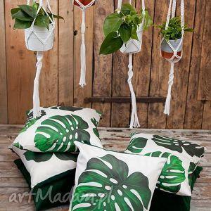 Poszewka dekoracyjna zielona Monstera, monstera, liść, liście, palma, filodendron