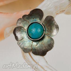 artseko a513 srebrne kwiaty z turkusami wisiorek, srebrny, zturkusem