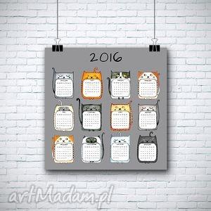 grafika kalendarz na 2016 rok 50x50 cm, kalendarz, kot