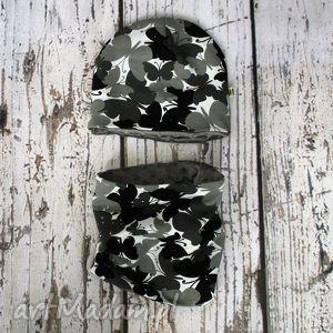 czapka i komin - motylki szare, czapka, komin, motyle ubranka dla dziecka