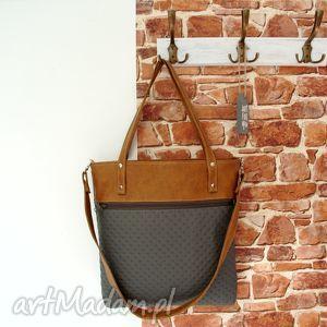 shopper bag z kieszenią , torba, szara, brązowa, modna, torebki