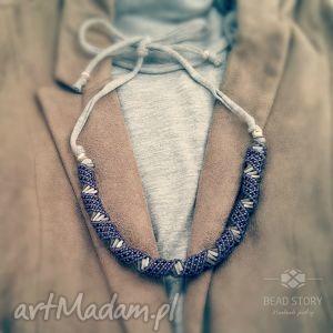 dna fiolet szarość bawełna - koraliki, sznurek, bawełna, wygoda, sportowy