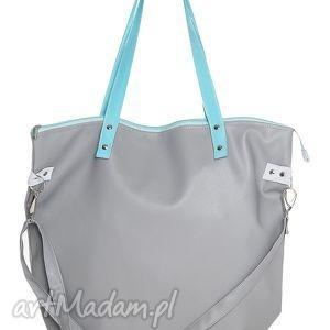worek waterproof grey aquamarine, manamana, pojemna, nowoczesna, ekoskóra, jasnoszara