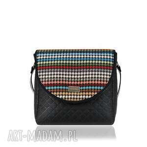 na ramię torebka puro 879 pepitka color, pepitka, kolorowa, modna, pikowana, czarna