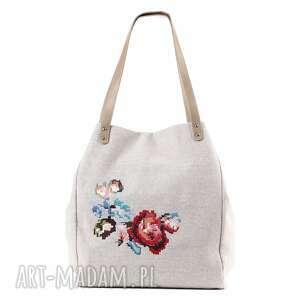 na ramię torebka lniana floral 419, folk, haft, torebka, len, rękodzieło torebki