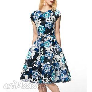 sukienka star midi abigail , midi, kwiaty, granat, czerń, wzorzysta, rozkloszowana