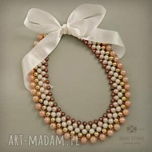 oryginalny prezent, bead story stella, kolia, korale, akryl, wstążka, satyna