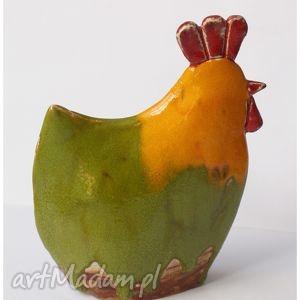 ceramika kura żółto zielona, kura, dom