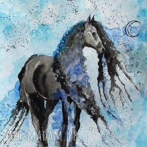 Obraz na płótnie WDZIĘK 70x50cm artystki Adriany Laube, koń, wydruk, płótno, domy