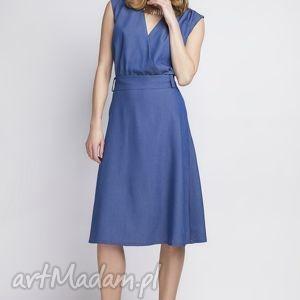 lanti urban fashion sukienka, suk126 jeans, jeansowa, kobieca, klasyczna, kopertowa