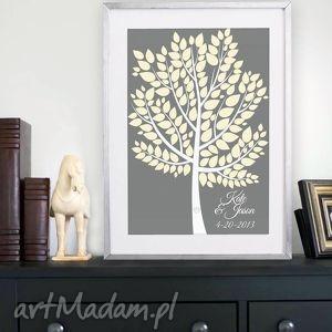 plakat drzewo wpisów gości weselnych w ramie - 40x50 cm, księga, gości, plakat, rama
