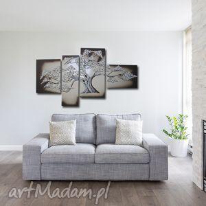 ręcznie malowany obraz bonsai beż - 120x70cm, drzewo, bonsai, dom