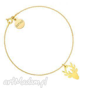 Złota bransoletka z jeleniem, bransoletka, jeleń, jelonek, złota, pozłacana