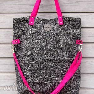 na ramię torebka damska cube coco, manamana, kieszenie, duża, fuksja, kieszeniowa